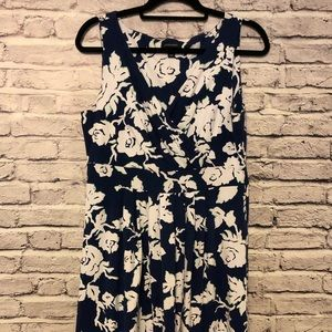 Lands End Fit and Flare Navy & Mint Floral Dress